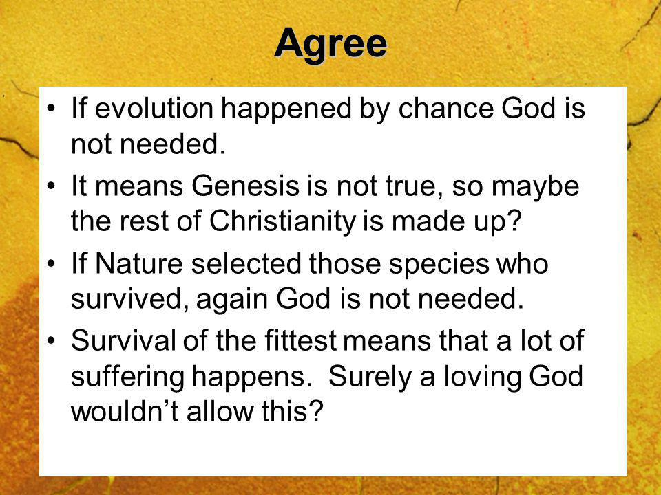 Agree If evolution happened by chance God is not needed.