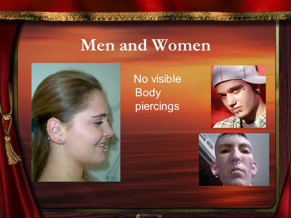 Men and Women No visible Body piercings