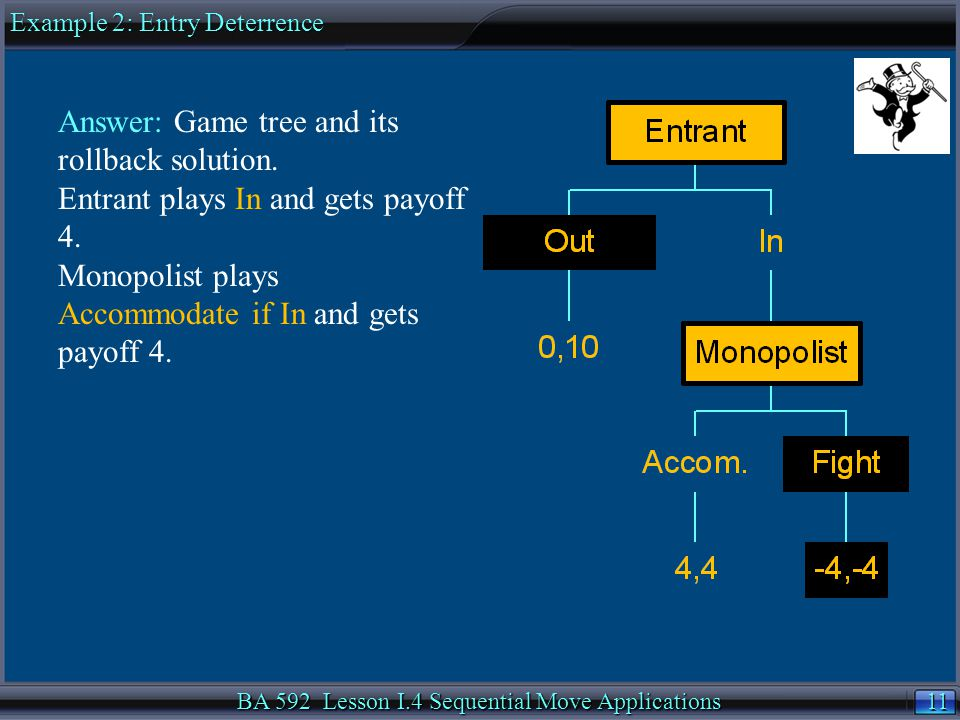11 BA 592 Lesson I.4 Sequential Move Applications Answer: Game tree and its rollback solution.
