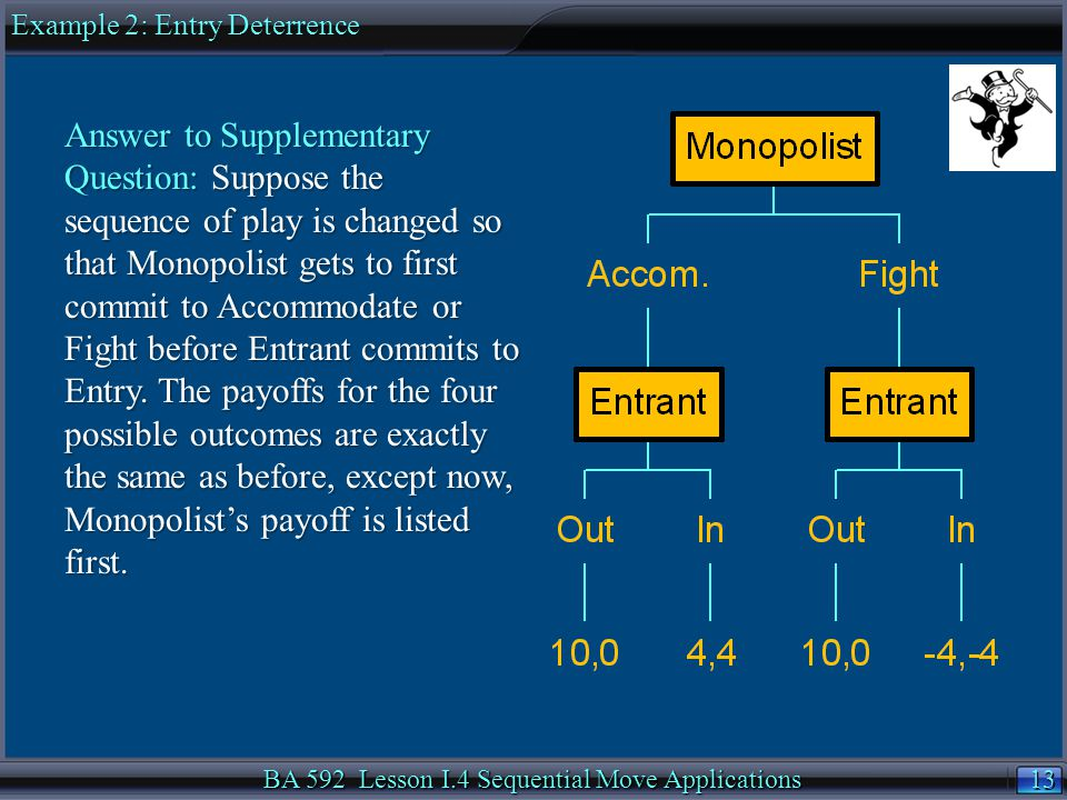 13 BA 592 Lesson I.4 Sequential Move Applications Answer to Supplementary Question: Suppose the sequence of play is changed so that Monopolist gets to first commit to Accommodate or Fight before Entrant commits to Entry.