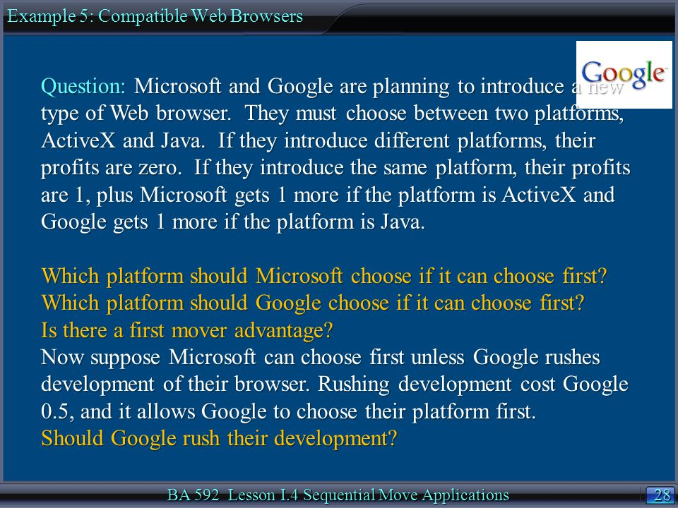 28 BA 592 Lesson I.4 Sequential Move Applications Example 5: Compatible Web Browsers Question: Microsoft and Google are planning to introduce a new ty