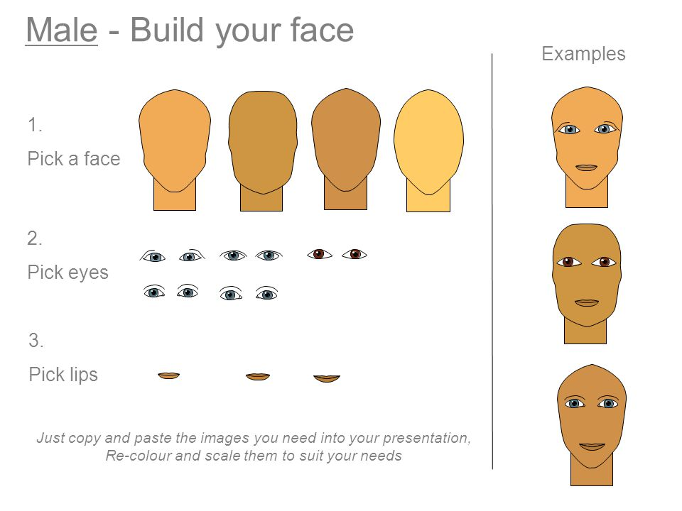 Male - Build your face Examples 1. Pick a face 2. Pick eyes 3. Pick lips Just copy and paste the images you need into your presentation, Re-colour and