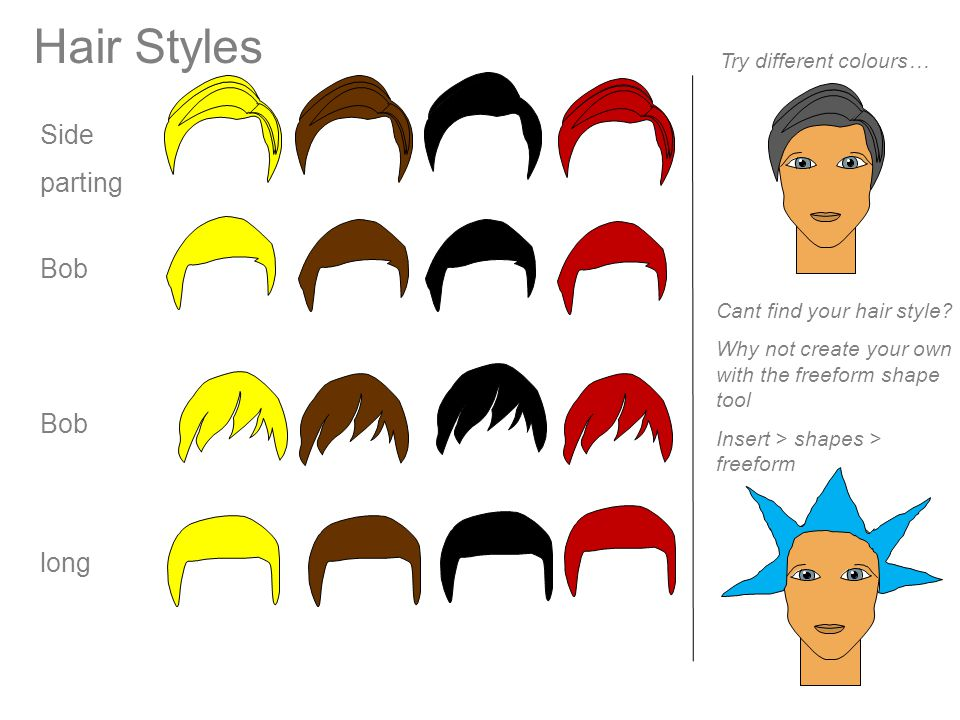 Side parting Hair Styles long Cant find your hair style? Why not create your own with the freeform shape tool Insert > shapes > freeform Bob Try diffe