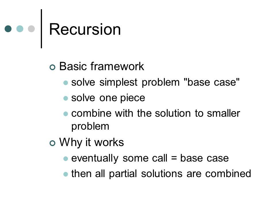 Recursion Basic framework solve simplest problem