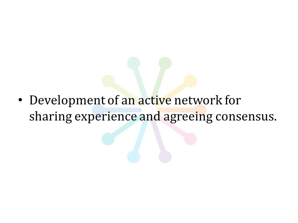 Development of an active network for sharing experience and agreeing consensus.