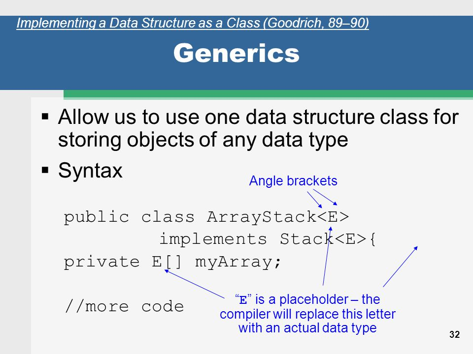 32 Generics Allow us to use one data structure class for storing objects of any data type Syntax public class ArrayStack implements Stack { private E[] myArray; //more code Implementing a Data Structure as a Class (Goodrich, 89–90) Angle brackets E is a placeholder – the compiler will replace this letter with an actual data type
