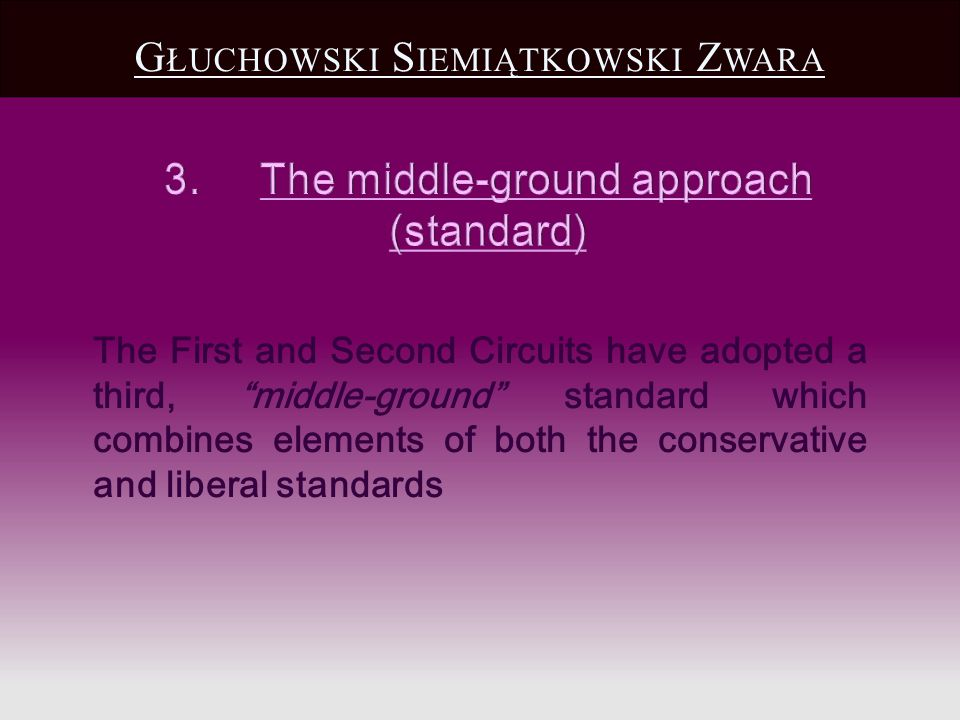 G ŁUCHOWSKI S IEMIĄTKOWSKI Z WARA The First and Second Circuits have adopted a third, middle-ground standard which combines elements of both the conservative and liberal standards
