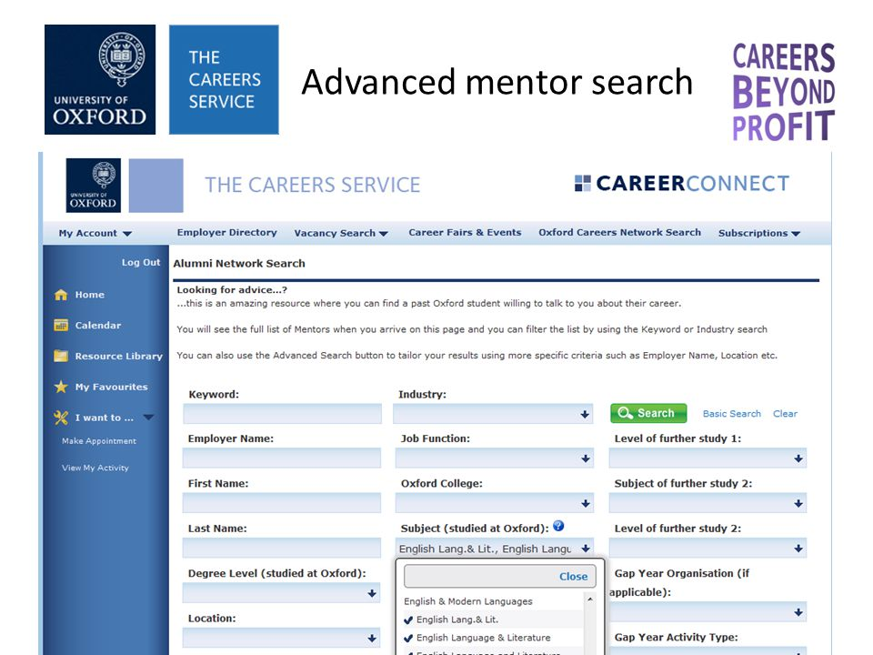 Advanced mentor search