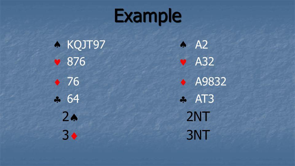 Example KQJT97 876 76 64 A2 A32 A9832 AT3 3 2 2NT 3NT