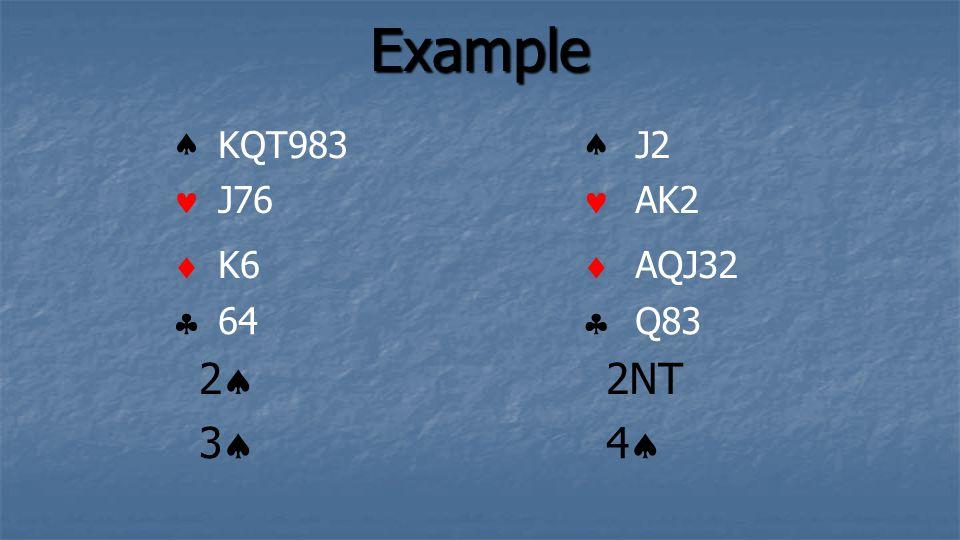 Example KQT983 J76 K6 64 J2 AK2 AQJ32 Q83 2 2NT 3 4