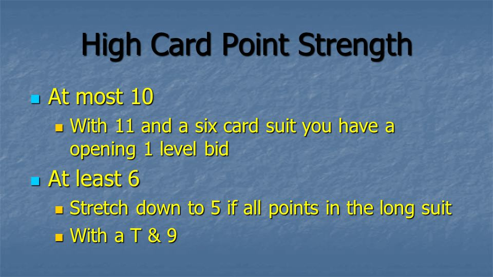 Strength of Suit It is important to have some strength It is important to have some strength Dont open a weak 2 if your suit is horrible Dont open a weak 2 if your suit is horrible This would be a mis-description This would be a mis-description More detail:-> More detail:->
