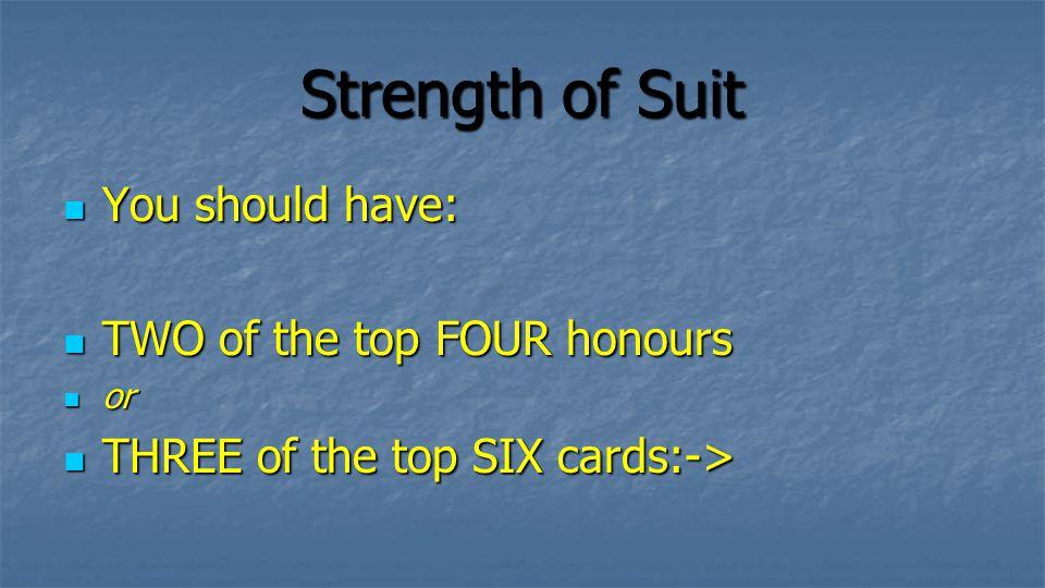 Strength of Suit Excellent A-K-9-8-7-6 K-Q-J-7-6-5 A-J-T-5-4-3 Q-J-T-5-4-3 Only Just K-J-7-6-5-4 A-T-9-4-3-2 Q-J-8-7-6-5 J-T-9-7-6-5 Bad Q-7-6-5-4-3 J-T-7-4-3-2 A-T-7-6-5-4 K-T-8-7-6-5