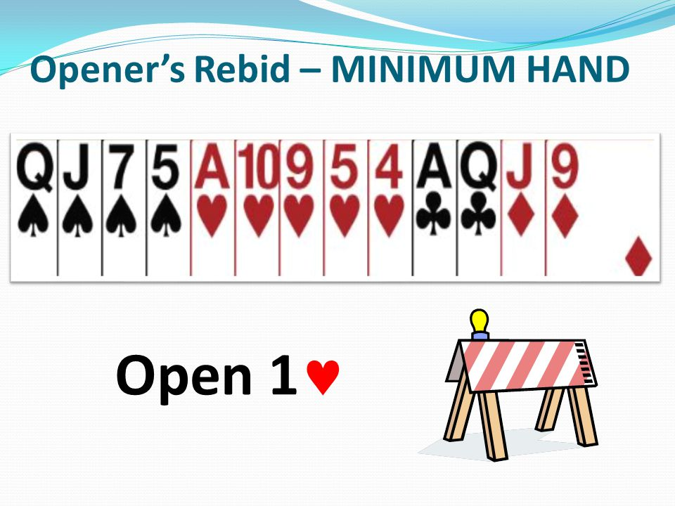 Openers Rebid – MINIMUM HAND Open 1