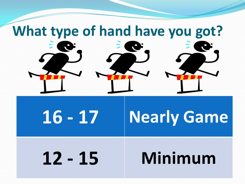 What type of hand have you got 16 - 17 Nearly Game 12 - 15 Minimum