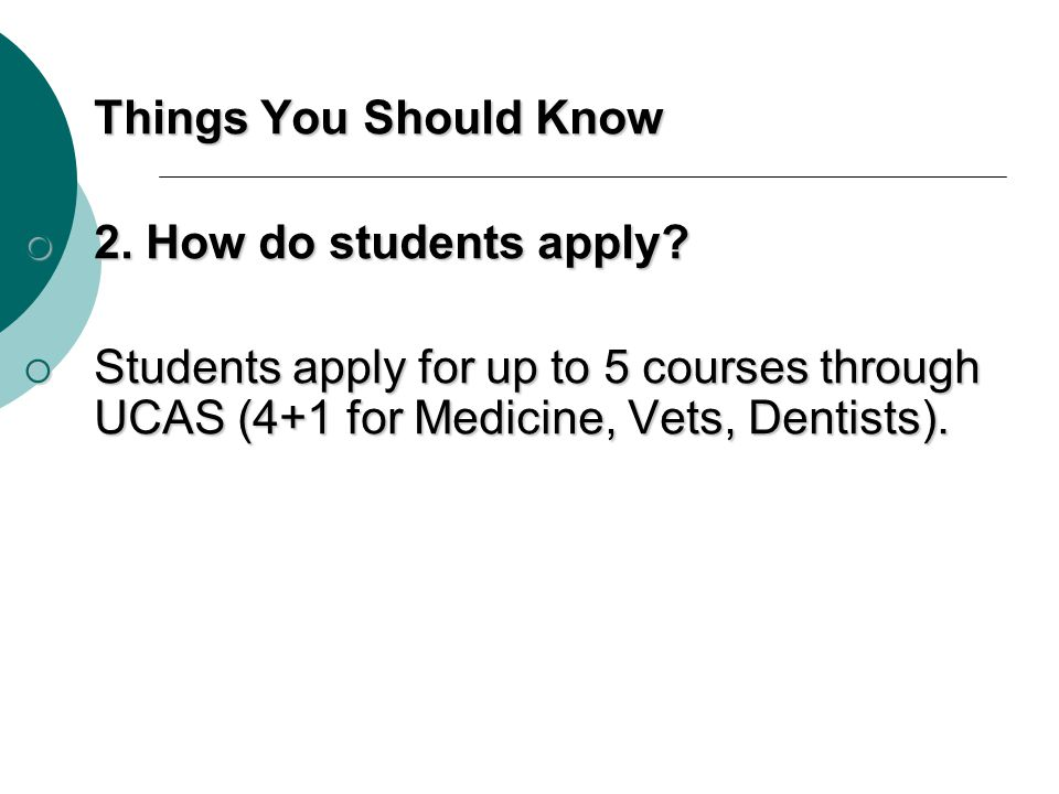Things You Should Know 2.How do students apply. 2.