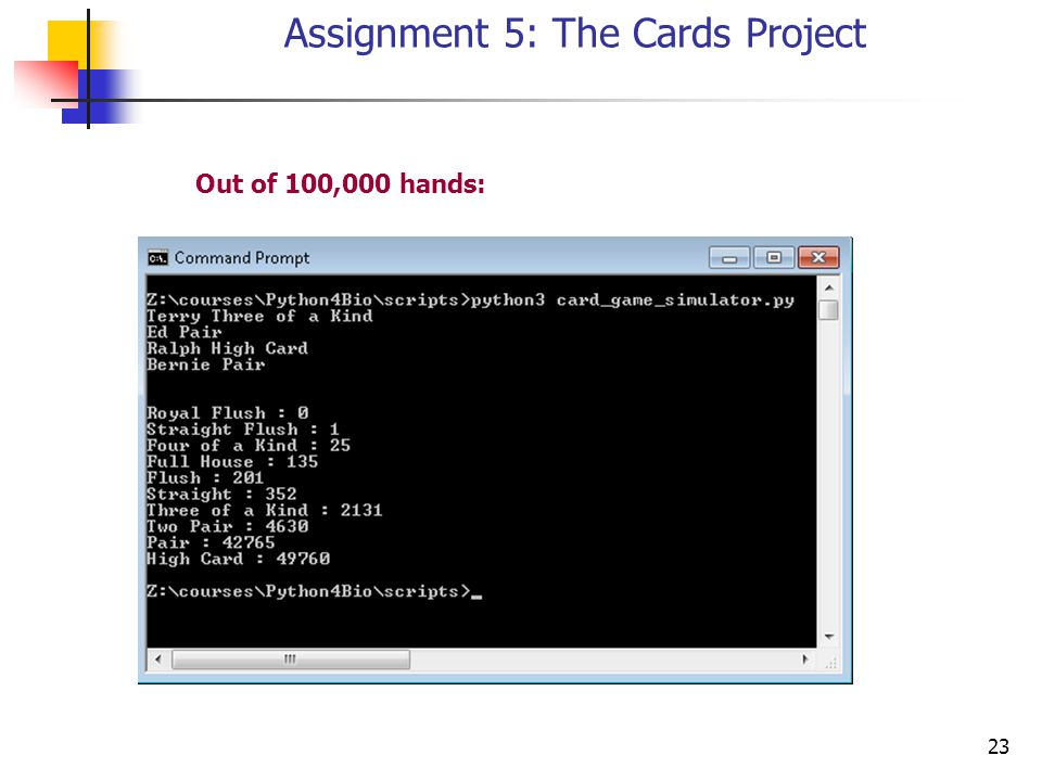 23 Assignment 5: The Cards Project Out of 100,000 hands: