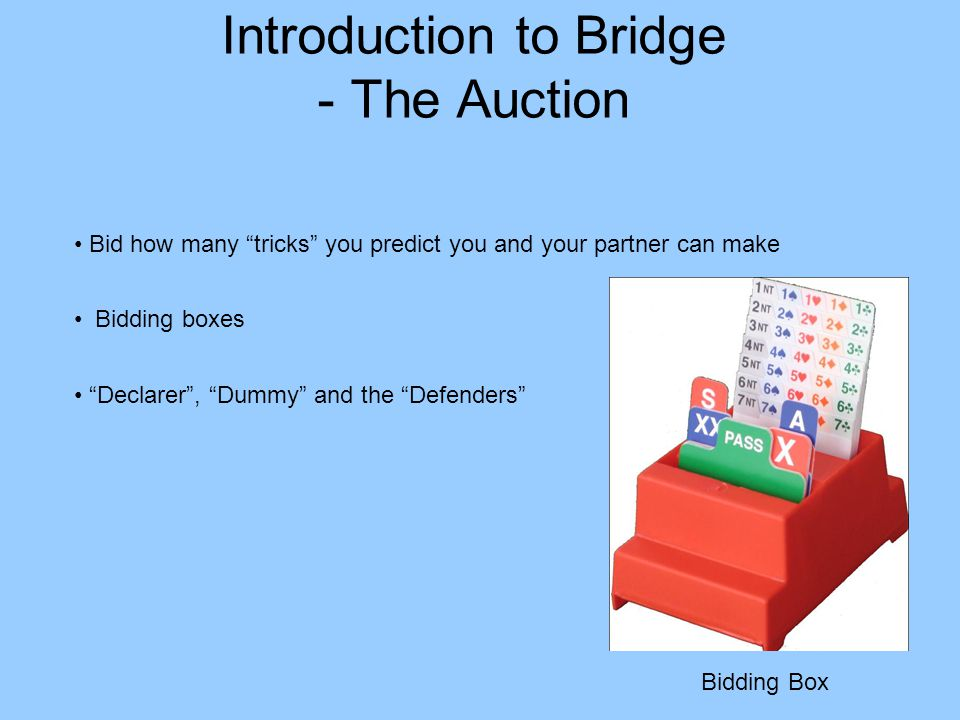 Introduction to Bridge - The Auction Bidding boxes Declarer, Dummy and the Defenders Bid how many tricks you predict you and your partner can make Bidding Box