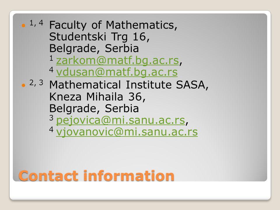 Contact information 1, 4 Faculty of Mathematics, Studentski Trg 16, Belgrade, Serbia 1 zarkom@matf.bg.ac.rs, 4 vdusan@matf.bg.ac.rs zarkom@matf.bg.ac.rs vdusan@matf.bg.ac.rs 2, 3 Mathematical Institute SASA, Kneza Mihaila 36, Belgrade, Serbia 3 pejovica@mi.sanu.ac.rs, 4 vjovanovic@mi.sanu.ac.rs pejovica@mi.sanu.ac.rs vjovanovic@mi.sanu.ac.rs