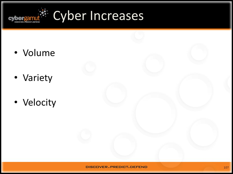 107 Cyber Increases Volume Variety Velocity