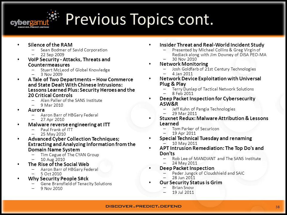 38 Previous Topics cont.
