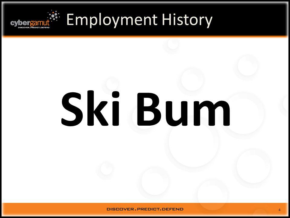 5 Employment History Ski Bum
