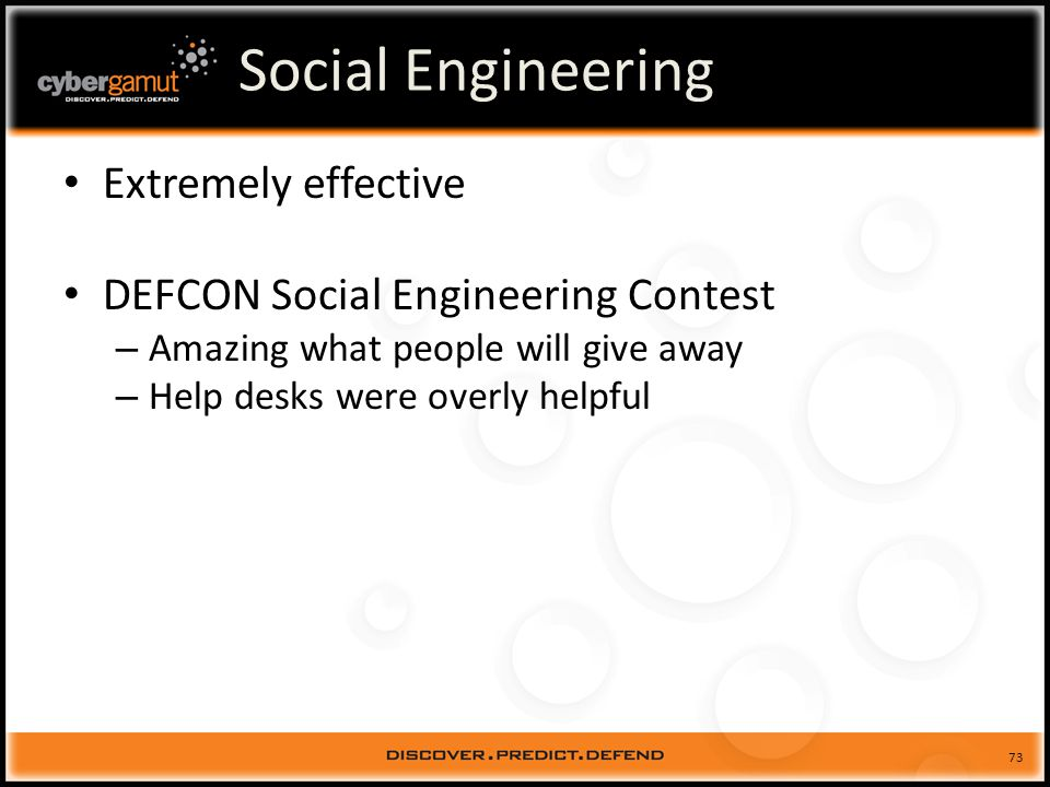73 Social Engineering Extremely effective DEFCON Social Engineering Contest – Amazing what people will give away – Help desks were overly helpful