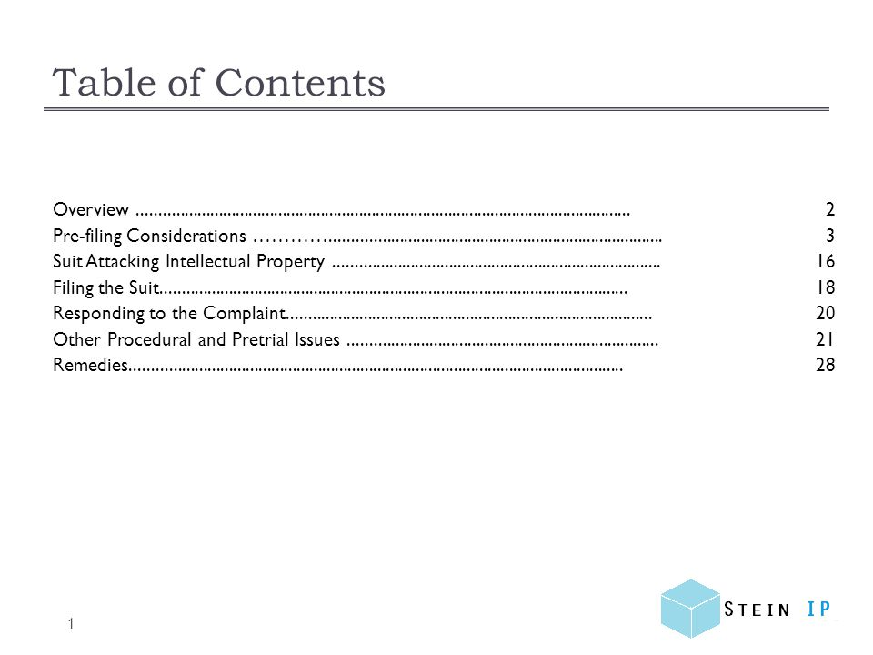 Overview 2 Pre-Filing Considerations Suit Attacking IP Filing the Suit Responding to the Complaint Remedies