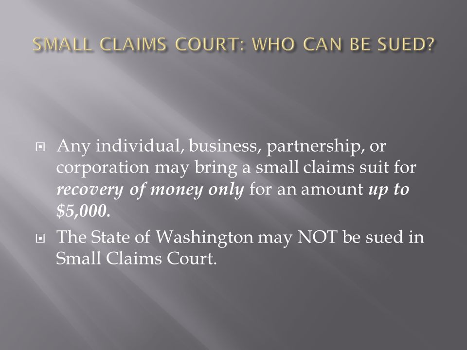 Any individual, business, partnership, or corporation may bring a small claims suit for recovery of money only for an amount up to $5,000.