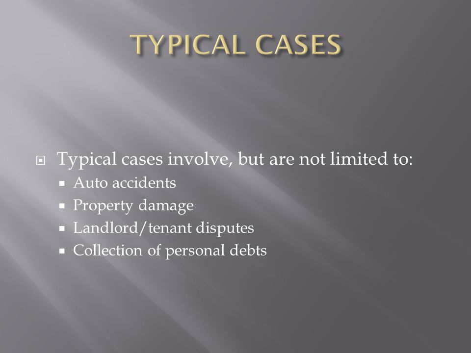 Typical cases involve, but are not limited to: Auto accidents Property damage Landlord/tenant disputes Collection of personal debts