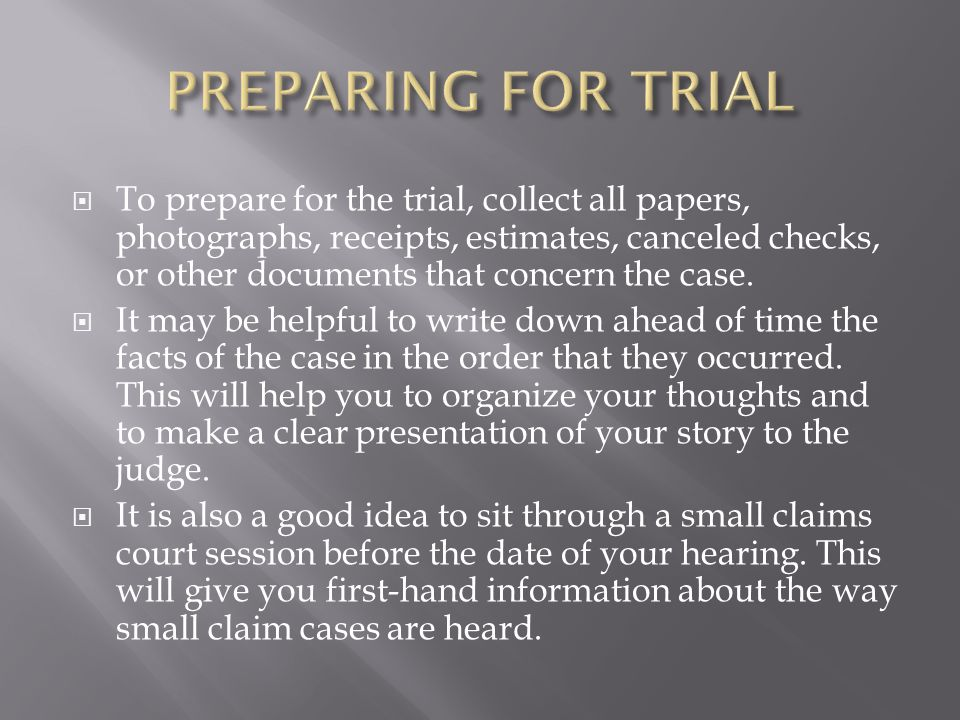 To prepare for the trial, collect all papers, photographs, receipts, estimates, canceled checks, or other documents that concern the case.