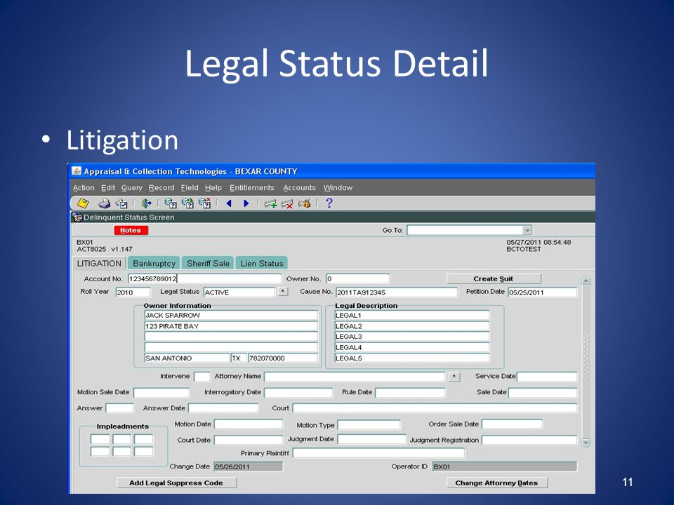 Legal Status Detail Litigation 11