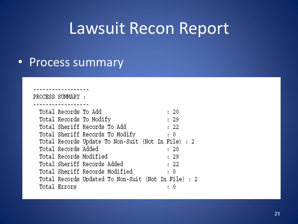 Lawsuit Recon Report Process summary 21