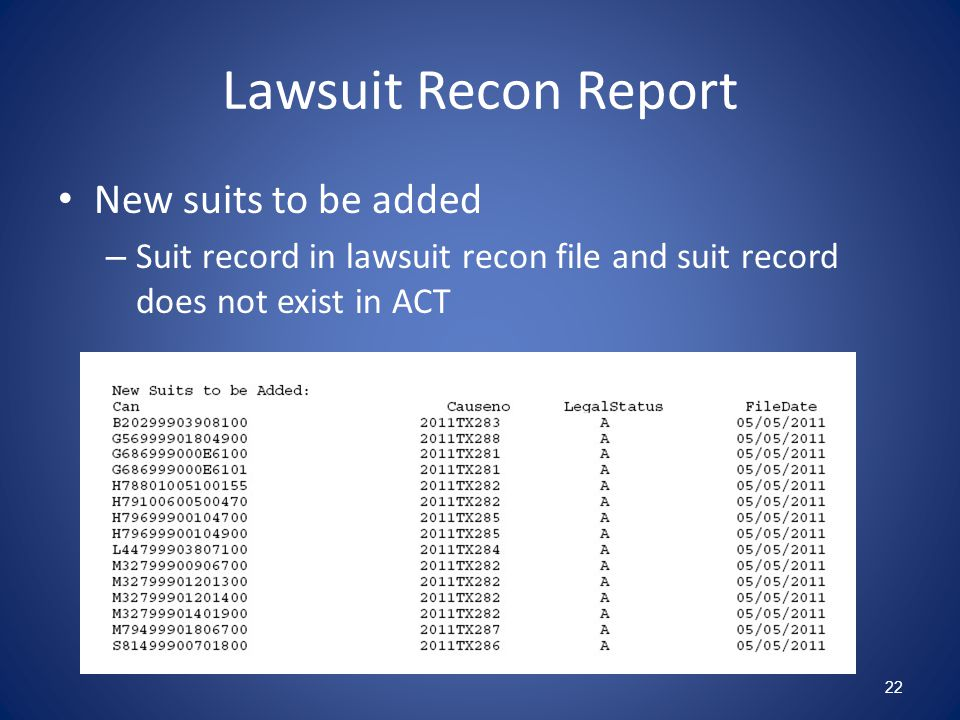 Lawsuit Recon Report New suits to be added – Suit record in lawsuit recon file and suit record does not exist in ACT 22
