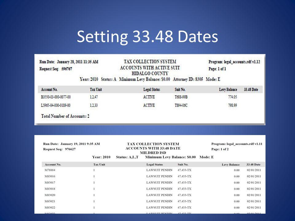 Setting 33.48 Dates