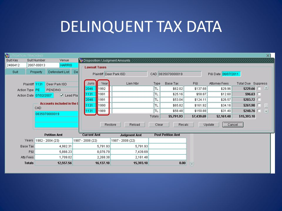 DELINQUENT TAX DATA