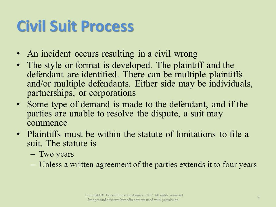 Copyright © Texas Education Agency 2012. All rights reserved. Images and other multimedia content used with permission. Civil Suit Process An incident