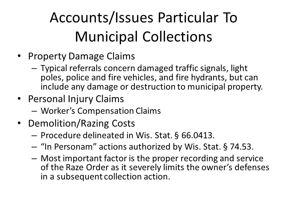 Municipal Collections (cont.) Municipal Fines/Judgments – Types of referrals can vary greatly, but can include sanctions, fines and judgments assessed, levied or awarded by a municipal, circuit or federal court.