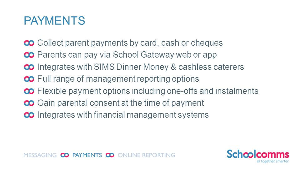 PAYMENTS Collect parent payments by card, cash or cheques Parents can pay via School Gateway web or app Integrates with SIMS Dinner Money & cashless caterers Full range of management reporting options Flexible payment options including one-offs and instalments Gain parental consent at the time of payment Integrates with financial management systems