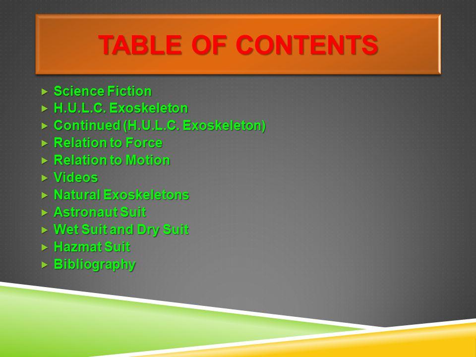 TABLE OF CONTENTS Science Fiction Science Fiction H.U.L.C.