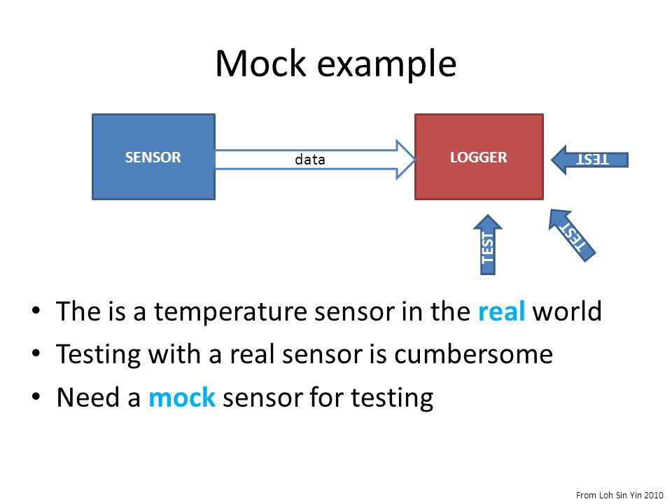 Mock example The is a temperature sensor in the real world Testing with a real sensor is cumbersome Need a mock sensor for testing SENSORLOGGER data TEST From Loh Sin Yin 2010