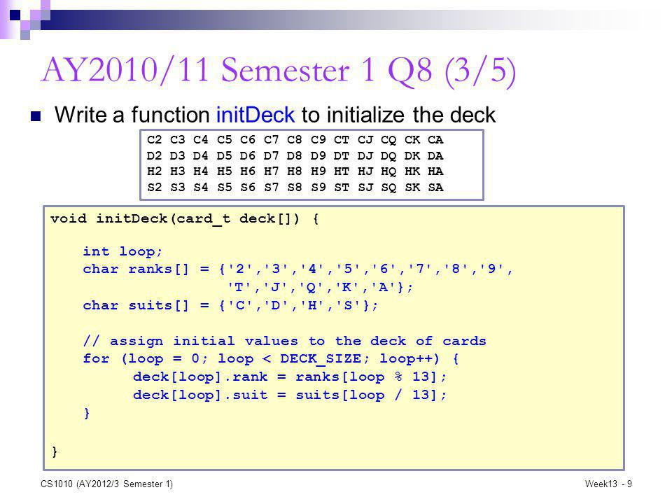 CS1010 (AY2012/3 Semester 1)Week13 - 9 AY2010/11 Semester 1 Q8 (3/5) void initDeck(card_t deck[]) { } Write a function initDeck to initialize the deck int loop; char ranks[] = { 2 , 3 , 4 , 5 , 6 , 7 , 8 , 9 , T , J , Q , K , A }; char suits[] = { C , D , H , S }; // assign initial values to the deck of cards for (loop = 0; loop < DECK_SIZE; loop++) { deck[loop].rank = ranks[loop % 13]; deck[loop].suit = suits[loop / 13]; } C2 C3 C4 C5 C6 C7 C8 C9 CT CJ CQ CK CA D2 D3 D4 D5 D6 D7 D8 D9 DT DJ DQ DK DA H2 H3 H4 H5 H6 H7 H8 H9 HT HJ HQ HK HA S2 S3 S4 S5 S6 S7 S8 S9 ST SJ SQ SK SA