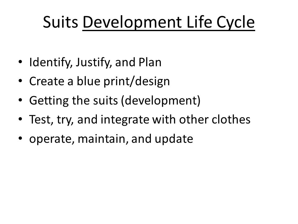 Suits Development Life Cycle Identify, Justify, and Plan Create a blue print/design Getting the suits (development) Test, try, and integrate with othe