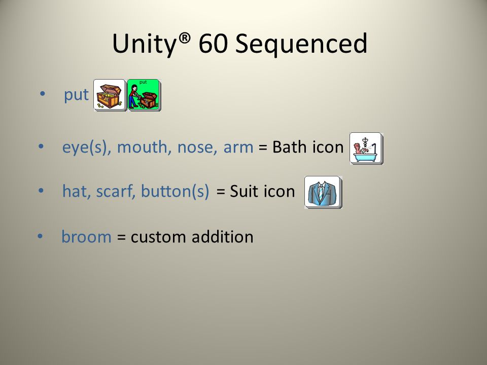 Unity® 60 Sequenced put eye(s), mouth, nose, arm = Bath icon hat, scarf, button(s) = Suit icon broom = custom addition