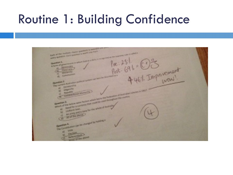 Routine 1: Building Confidence