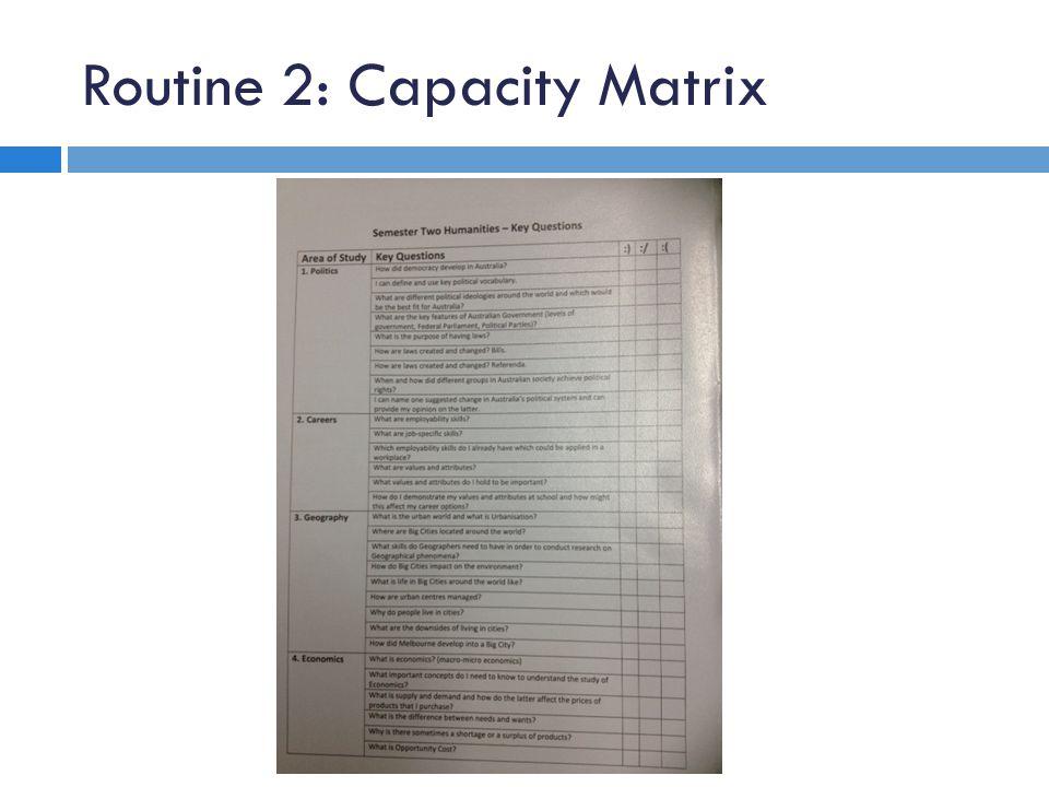 Routine 2: Capacity Matrix
