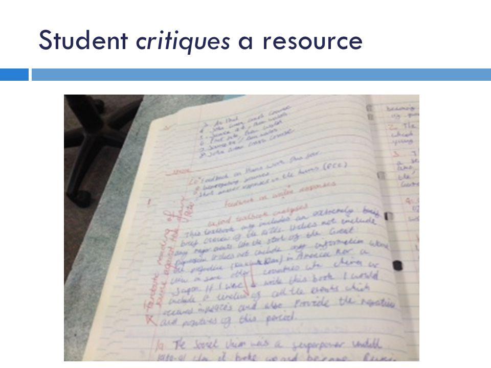 Student critiques a resource