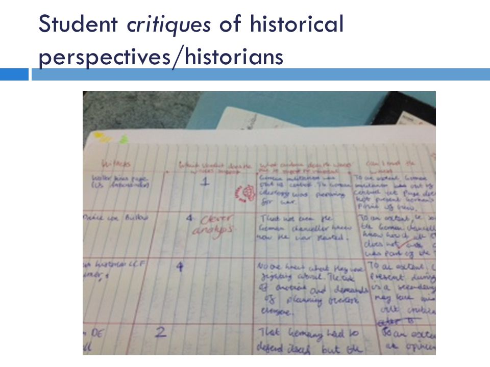 Student critiques of historical perspectives/historians