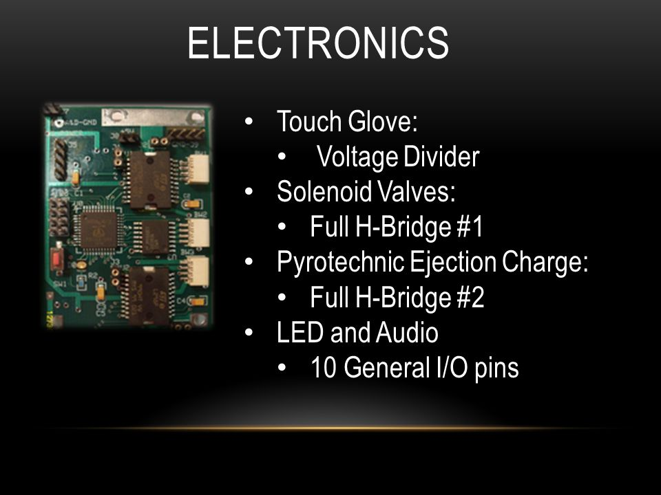 ELECTRONICS Touch Glove: Voltage Divider Solenoid Valves: Full H-Bridge #1 Pyrotechnic Ejection Charge: Full H-Bridge #2 LED and Audio 10 General I/O pins