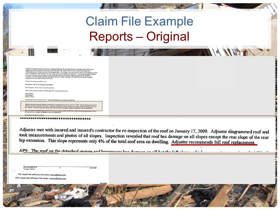 Claim File Example Reports – Original