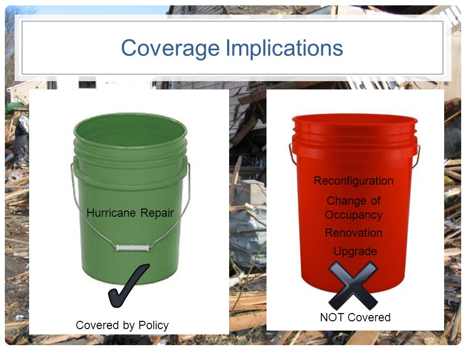 Coverage Implications Hurricane Repair Reconfiguration Change of Occupancy Renovation Upgrade Covered by Policy NOT Covered